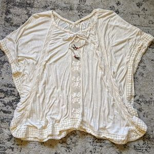 Free People Cream Crochet Tunic with Lace Tassels